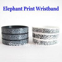 2013 Hot Selling Elephant Print Silicone Wristband Fashion Silicone Bracelets Band 3pcs/lot