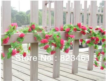 Artificial Pink Rose Silk Hanging Garland Flowers Vine Wedding Garden Decoration