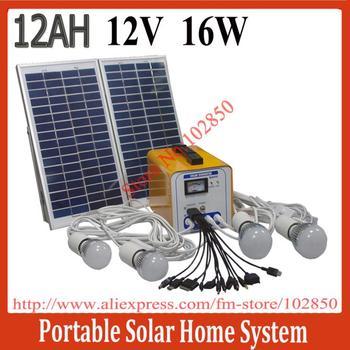 16W/12AH/12V DC Portable Solar Power System,Solar power slution kits for home use,built in controller