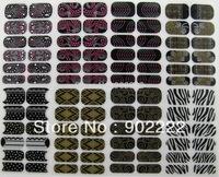 16 designs stencil nail art nails decorations foil wrap bling adhesive nail art sticker 48sheets/lot Free shipping