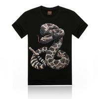 Free Shipping fashion tops summer 3D snake print men T-shirts,o-neck t shirts men tees men's t shirts cotton men's T shirts,KT06