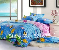 Wholesale hot modern quilt pattern ocean queen comforter bedding sets 4pcs 100% cotton FREE SHIPPING