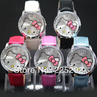 free shipping!Wholesale retail 5pcs/lot High Quality Hello Kitty Ladies Students Girls Fashion Gift brand Quartz Wrist Watches