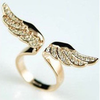 12pcs/lot Wholesale Angel Wings lab Diamond Punk Rings for Female Statement Ring Bijouterie Punk Fans GIft Young Girl Favorite