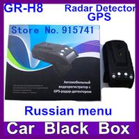 2014 Newest Russian Voice Car DVR Camera GR-H8  Radar Detector  with GPS 2.0 inch HD1280*720P  Russian menu G-sensor