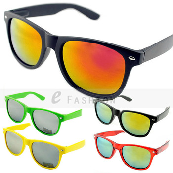 Hot Sale! 2015 Fashion New Goggles Unisex Vintage Retro Multi-coloured Mirror Lens UV400 Trendy Sunglasses 120-0500