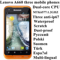 Russian Polish menu Lenovo A660 mobile phone IP67 level three anti waterproof mobile phone multi-language Free Shipping