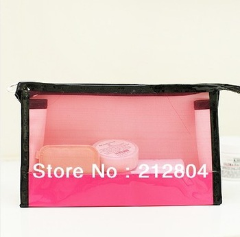 FREE SHIPPING  Fashion pure color grid translucent hand carry small cosmetic bag (with a mirror)