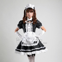 Lolita maid equipment cosplay women's costume black and white maid service  apron dress set