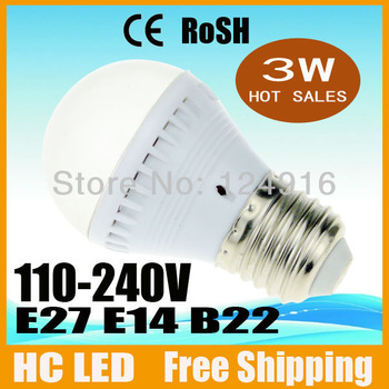 100pcs/lot Free Shipping High Power 3W 5050 SMD E27 E14 B22 12 LED light Bulb Lamp Com lamp Cool/Warm White With Cover 200V-260V