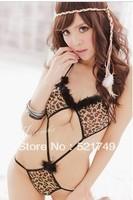 sexy lingerie babydoll leopard sleepwear night wear for   women/ ladies' lingerie free shipping