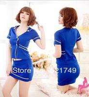 sexy lingerie toys  underwear  stewardess   costumes erotic  sleepwear  for women blue white black free shipping