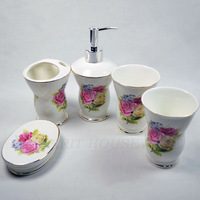 free shipping white ceramic 5 pcs bathroom set soap dish / brush holder / cups / Rinsing mug / toothbrush holder / dispenser