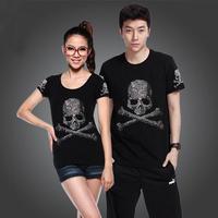 New Fashion Cool Lovers Rhinestones Skull Women Men Unisex Black Short-sleeve Summer T-shirt Male Felmale Top