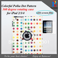 "Summer Cool & Colorful Polka Dot 360 degree rotating tablet Case for ipad 2/3/4 or ipad mini 7.9"" cover, with screen protector"