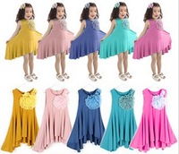 2015 New Design Retail girls dress candy color roses modal 100% cotton pleated dress free shipping