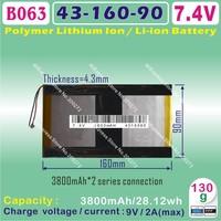 [B063] 7.4V,3800mAH,[4316090] PLIB (polymer lithium ion battery ) Li-ion battery  for tablet pc,power bank,MP4