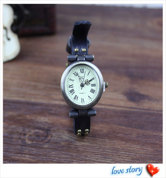 2013 hot wholesale Cow leather watches women watches Rivet strap The oval face retro-style watch Free Shipping T-101