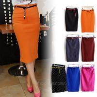 2013 Candy color sexy elastic slim high waist slim hip step skirt pencil skirt bust skirt polka dot with belt sash E1421
