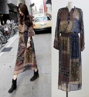 High quality new 2014 chiffon dress women's long-sleeve spring summer Bohemia long dress fashion printed dress D075