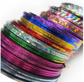 60 Mix Color Rolls Striping Tape Metallic Yarn Line Nail Art Decoration Sticker Free Shipping