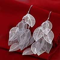 Free Shipping Wholesale 925 Sterling Silver Earring,925 Silver Fashion Jewelry,Gloss Leaves Earrings SMTE214