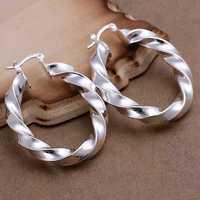 Free Shipping Wholesale 925 Sterling Silver Earring,925 Silver Fashion Jewelry,Twisted Earrings SMTE154