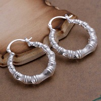 Free Shipping Wholesale 925 Sterling Silver Earring,925 Silver Fashion Jewelry,Hollow Round Bamboo Earrings SMTE139