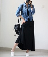 Free shipping 2014 Summer Fashion Retro Pop Skirt Lady Bohemia Multicolor Women Modal Cotton Pleated High Waist Maxi Skirt