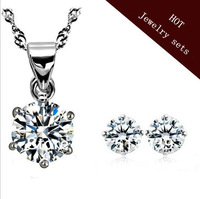 925 Silver Eight Hearts and Eight Arrows Zircon Crystal Earrings Necklace Set  CLOVER1340N/340-3