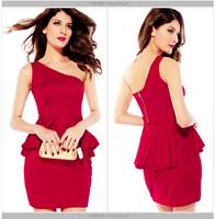 Black Red Women Sexy Sleeveless One Shoulder Peplum Mini Club Dress Brand Ruffle Evening Party Formal Sheath Summer Dresses