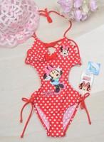 Litte GIrls  Fashion   Minne   Swimwear    kids  Bathing suit   Children  Beachwear  Red  and  Pink