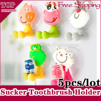 5pcs/lot New Super Cute Cartoon Animal Lovly Sucker Toothbrush Holder Suction Hooks Free shipping
