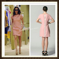 2013 New Fashion Spring And Summer Season Victoria Beckham Slim Back Zipper Square-neck One-piece OL Style Dress  XL XXL