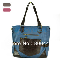 Cheap Hot Selling Retro Tote Color Matching Canvas Casual Shoulder Bag Handbag 14006