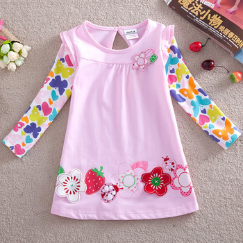 Girl dress baby girls long sleeve princess dress girl dresses with beautiful flower embroidery and printing F2275# free shipping