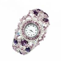New Arrival,  Free shipping/ Fashion Luxurious Mix Color Rhinestone BANGLE Cuff WATCH, Bracelet WATCH, WRIST WATCH