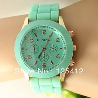 100pcs/lot 2013 new hot Unisex three circles Display Candy Color Silicone Geneva Watch Dropship 15 colors