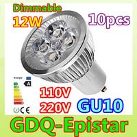 10pcs/lot Free shipping Dimmable High Power 12W 12V 110V 220V GU10 E27 E14 MR16 B22 LED Light Bulb Lamp Spotlight Lighting