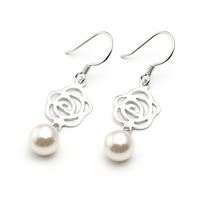 Fashion Pearl 925 Sterling Silver Earrings Anti-allergic Earrings  Nice Gift  for Lover Free Shipping (SE032)