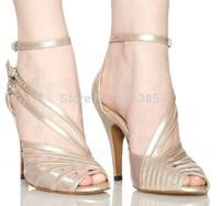 2013 New Ladies Flesh Satin Patent Leather Straps Ballroom Latin Samba Salsa Dancing Shoes Sale