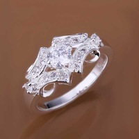 Free Shipping Wholesale 925 Sterling Silver Ring,925 Silver Fashion Jewelry,Inlaid Stone Belt Ring SMTR146