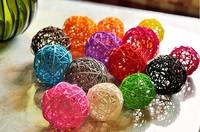 Multicolour sepak takraw decoration accessories restaurant home decoration rattan ball Christams decoration