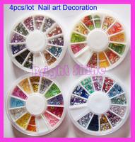 Hot !!! 4 Wheel Mixed Nail Art Rhinestones Glitters Slice Decoration Manicure- Polymer Clay Slice Rhinestone hollow glitter