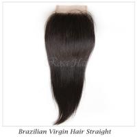 "DHL Free shipping 3.5""*4"" 6A Grade Brazilian Virgin Hair Free Part Top lace closure Bleached Knots Natural Straight  #1B"