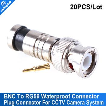 20Pcs/lot connector bnc Male Compression Coax RG59 CCTV Cable Connectors