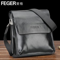 Free shipping, 2014 New Feger brand men's commercial messenger bag, quality genuine real cowhide leather briefcase bag,TCF04
