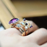 """6pcs/lot Free Shipping """"Court Purple Nobles"""" Ring Set Made in China Classic Girls Jewelry"""