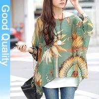 2012 new ultra-fresh linen yarn loose Korean hit color stitching short-sleeved t-shirt plus size chiffon blouse XXXL XXL blouses