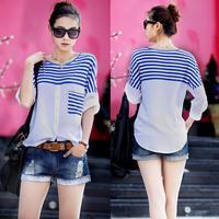 2014 Spring Plus Size Clothing Three Quarter Sleeve Blouse Loose Batwing Sleeve Shirt Blue White Stripe Large Ladies T-shirt